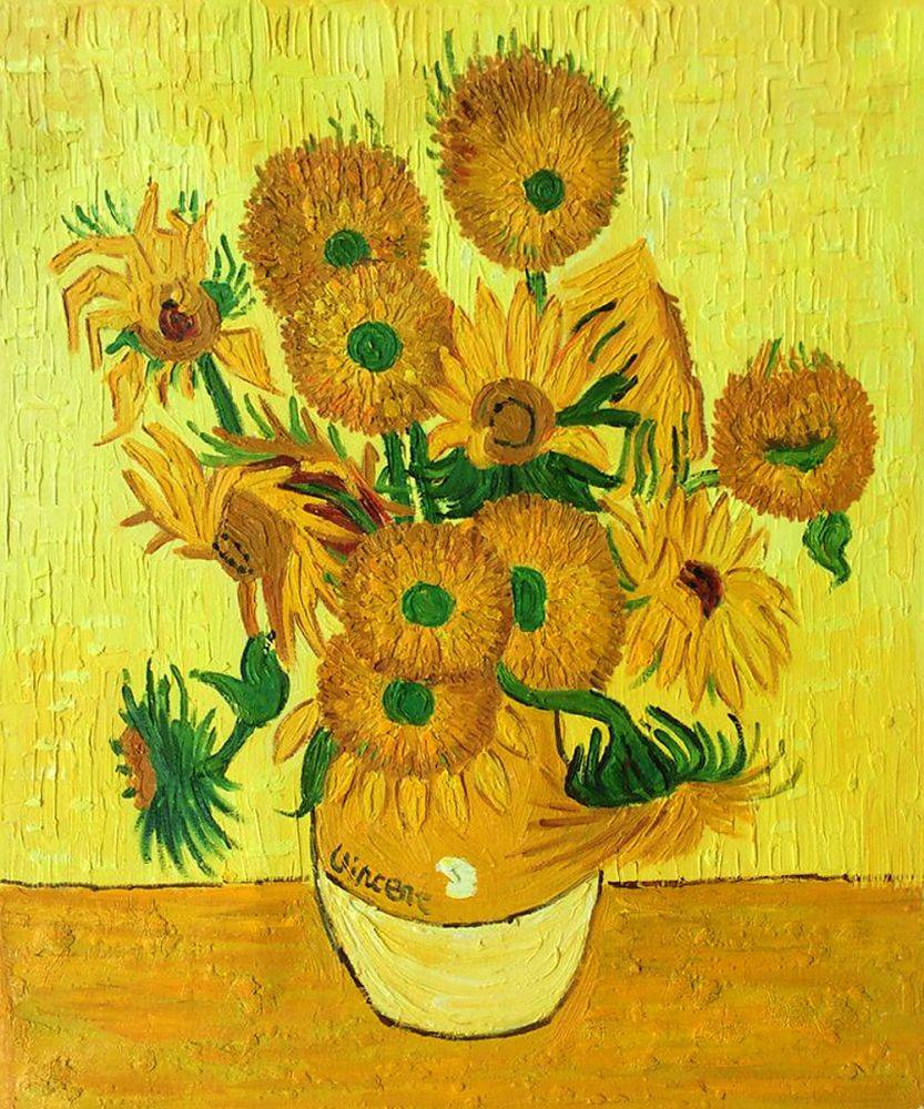 Van Gogh Museum Quality Reproduction Vase With Fifteen Sunflowers Large Hand Painted 24 Inches X 36 Inches Vincent Van Gogh Reproductions